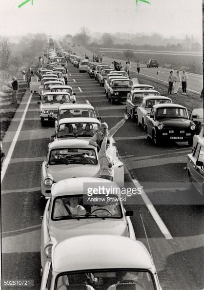 CANADA - NOVEMBER 16: Happy Jam: A row of East German Cars... #helmstedt: CANADA - NOVEMBER 16: Happy Jam: A row of East German… #helmstedt