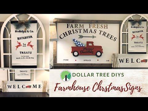 Dollar Tree Christmas DIY Farmhouse Signs|Red Truc…