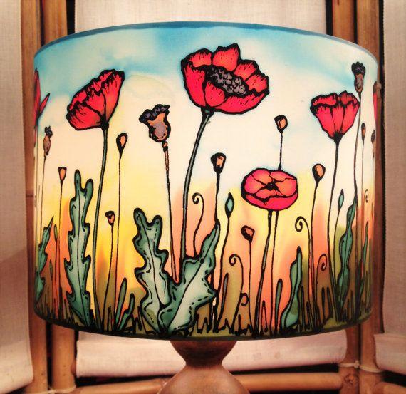 Poppy Field Sunset Hand Silk Painted Lamp by CarinaThumbelina