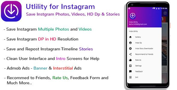 Instagram Utility - Save Photos, Videos, HD DP and Stories