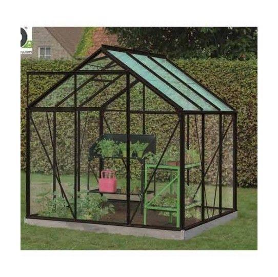 Serre de jardin en verre trempé Daisy – 3,8m², Couleur Silver, Base Sans base …