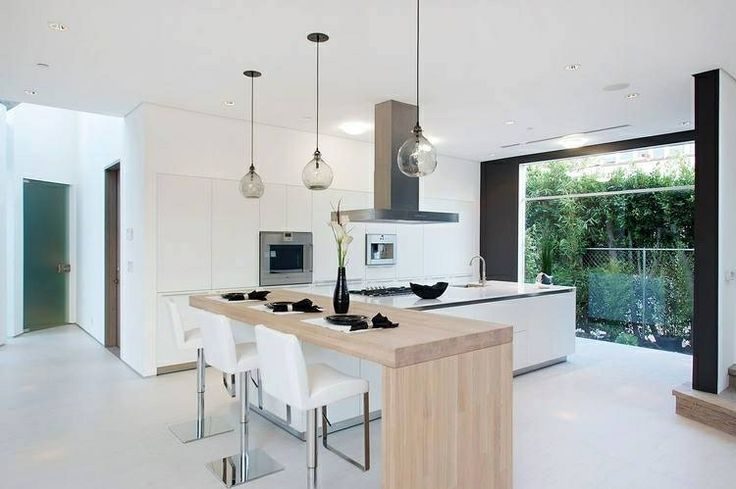Nice integration between kitchen island and proposed  dining table