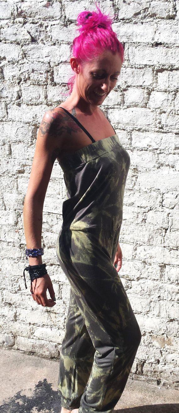 Tie Dye Acid Wash Strapless Jumpsuit/Playsuit Khaki by AbiDashery, £22.50