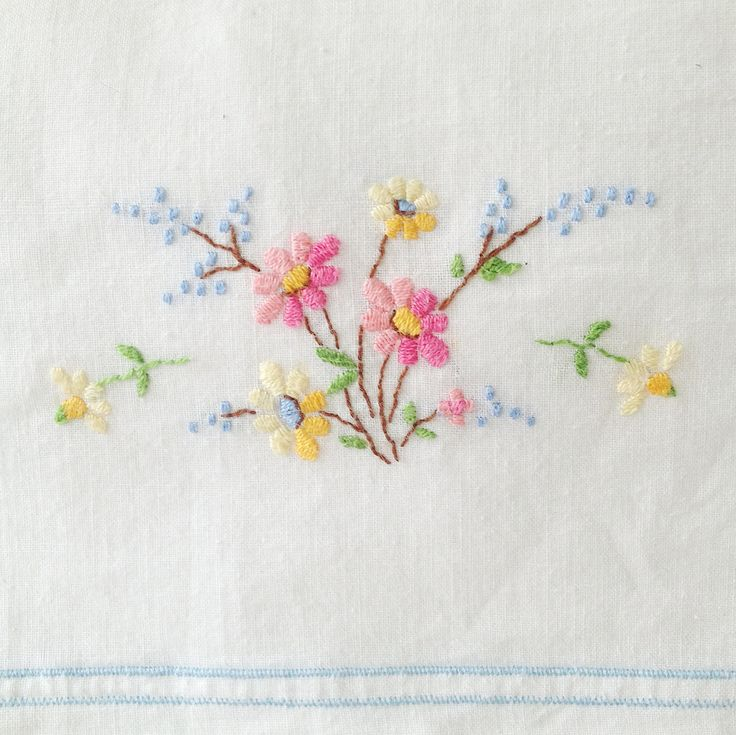 Vintage pillowcase embroidery