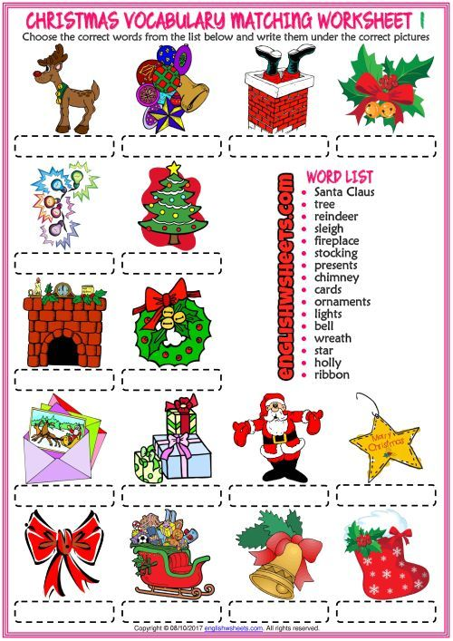 Christmas Vocabulary Matching Exercise ESL Worksheets | Christmas ...