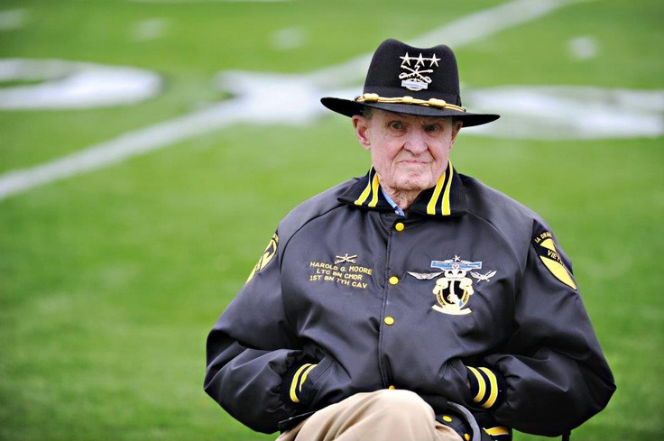 """Retired Army Lt. Gen.Harold """"Hal"""" Moore, Jr. attends the West Point football spring scrimmage at Doughboy Stadium in Ft. Benning, Ga. March 9, 2012. Moore is best known as the Lieutenant Colonel in command of the 1st Battalion, 7th Cavalry Regiment, at the Battle of Ia Drang, in 1965 during the Vietnam War. He is the author of """"We Were Soldiers Once… And Young"""" which was adapted into the 2002 film We Were Soldiers."""