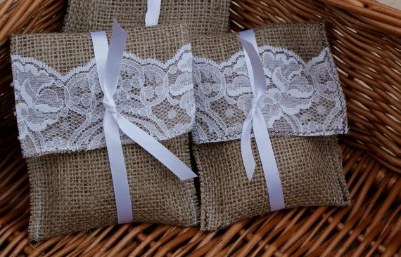 I think I need these... Burlap and Lace wedding favor  or gift bags by Littlewhiteboutique, €60.00