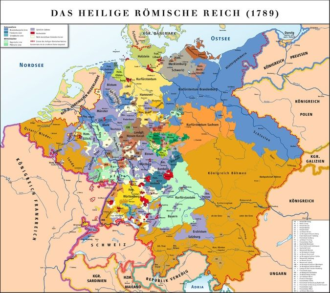Map of the Holy Roman Empire in 1789. The map is dominated by the Habsburg Monarchy (brown) and the Kingdom of Prussia (blue), besides a large number of small states (many of them too small to be shown on map).