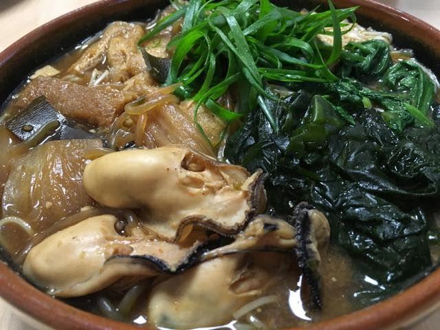 牡蠣鍋からのにゅう麺