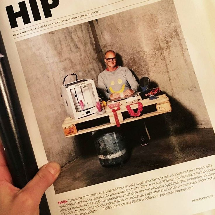 """Look who it is in the latest issue of Image Magazine! Its our designer Pekka Salokannel. And they call him """"hip""""  #kokosom #kokosomeyewear #topdesigner #3dprinting"""