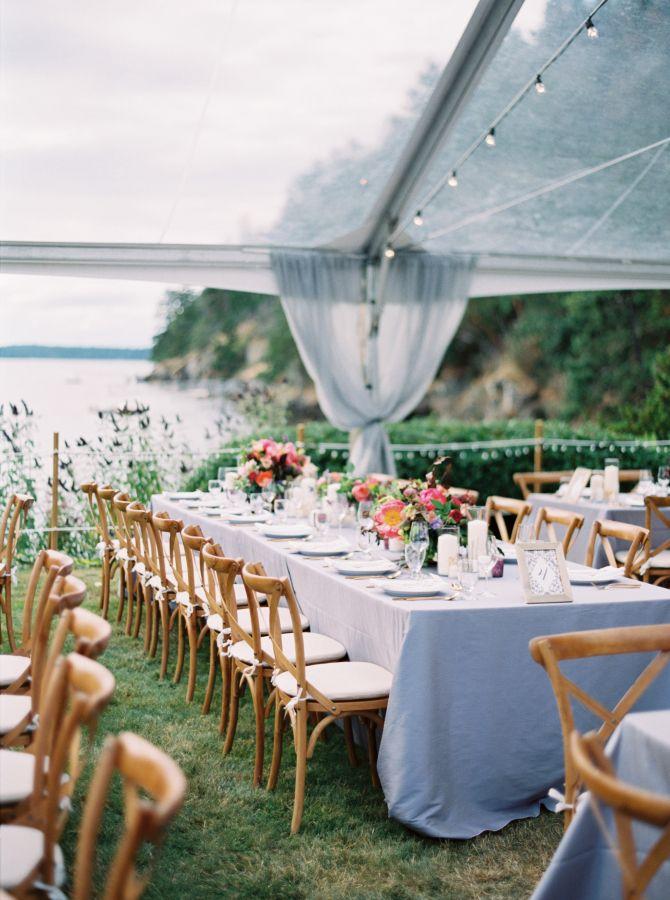 Soft blue wedding table decor: http://www.stylemepretty.com/2017/05/15/backyard-waterfront-wedding/ Photography: Erich McVey - http://www.erichmcvey.com/