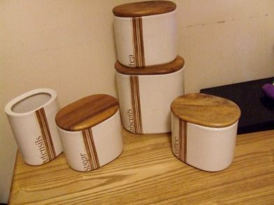 Ceramic Kitchen Storage Set - Set includes jars for biscuits, tea, coffee and sugar, and a utensil...