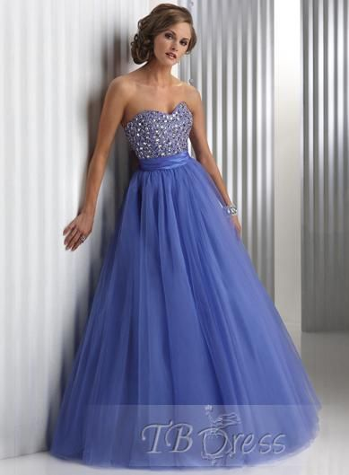 Sweetheart Floor-Length Lace-up Prom Dresses