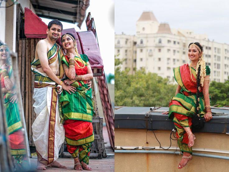 South Indian bride.Kanchipuram silk sari. Braid with fresh flowers.Temple jewelry. Tamil brahmin bride. Telugu bride. Kannada bride. Malayalee bride. Hindu bride.
