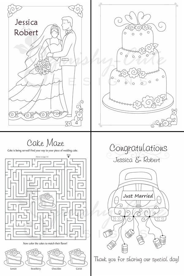 Wedding Coloring Book Kids Favors Personalized Printable Pdf Activity