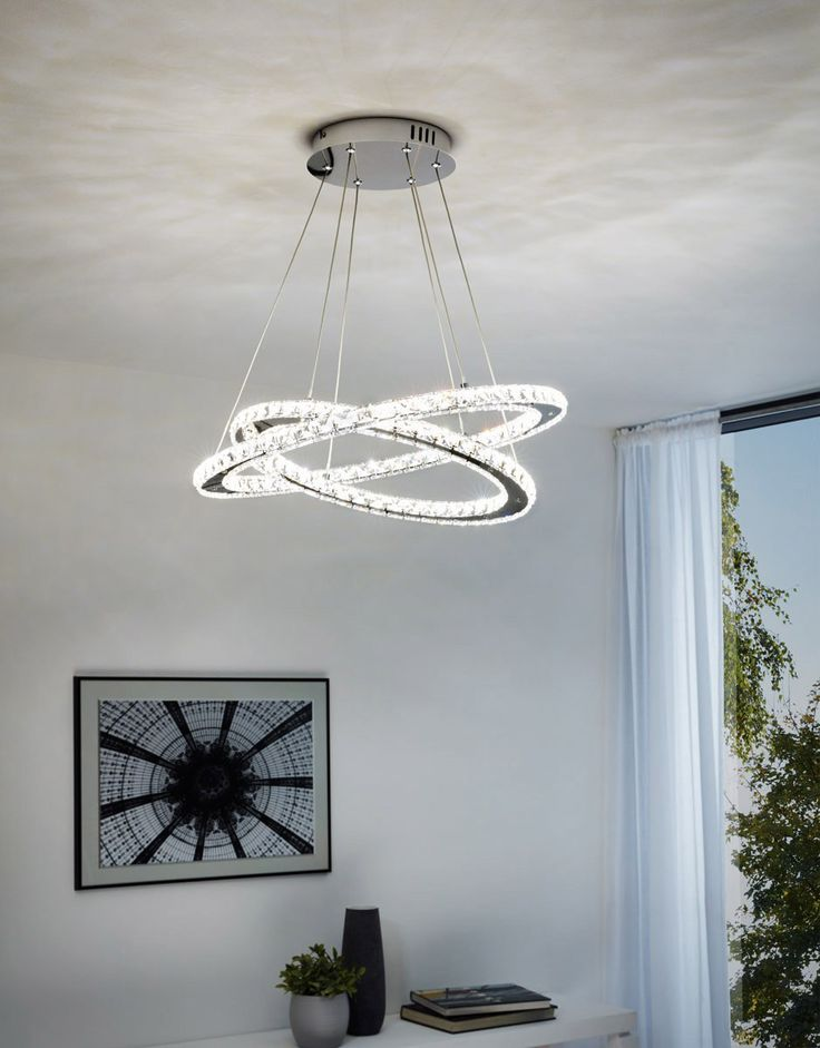 Modern led chandelier with crystals by eglo
