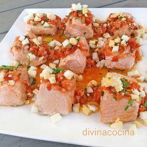 Con esta misma receta de salmón en escabeche se pueden preparar otros pescados azules como el bonito o el pez espada.