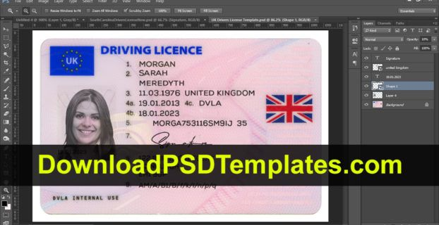 Uk Drivers License Template Templates Psd Template Free Drivers License