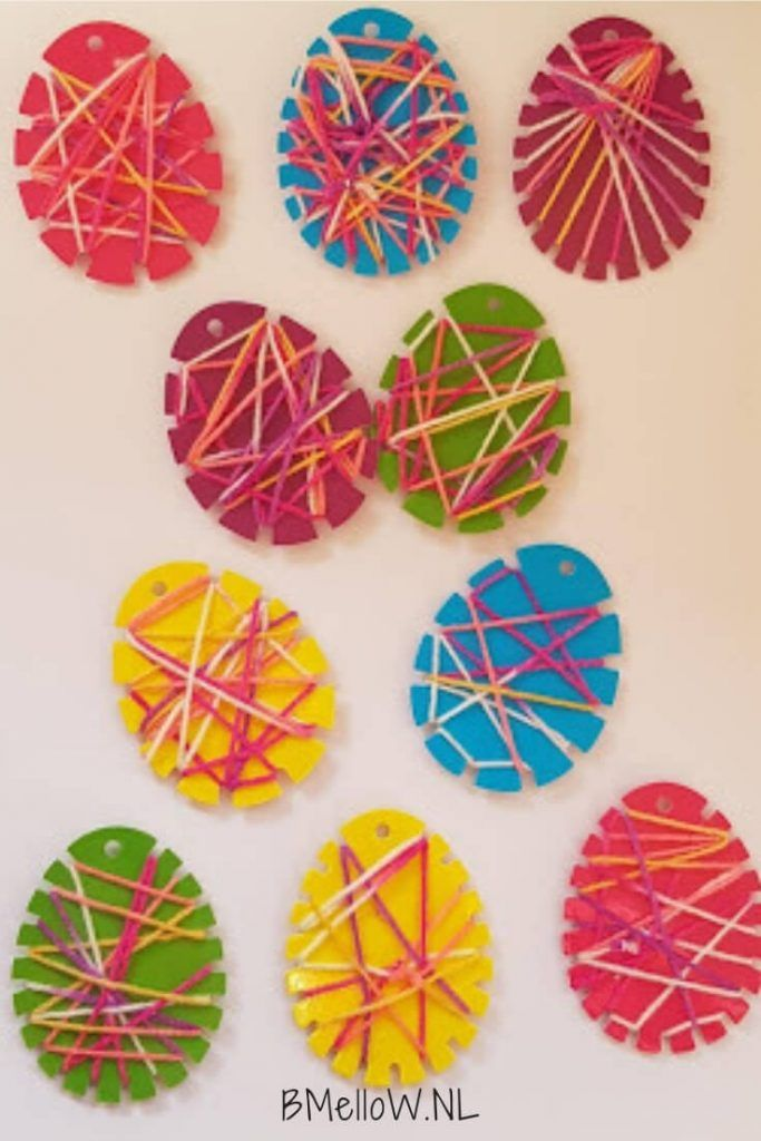 String art Easter egg crafting with toddlers and preschoolers