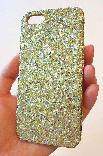 For Iphone SE / Iphone 5 5S Apple Silver Gold Cluster Super Bright Glitter mix Shiny Phone Case Hot Trend Super Cool Accessories handmade by Yunikuna