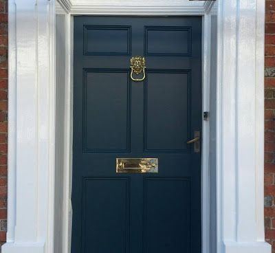 Farrow & Ball Hague blue and Willow and Stone door furniture.