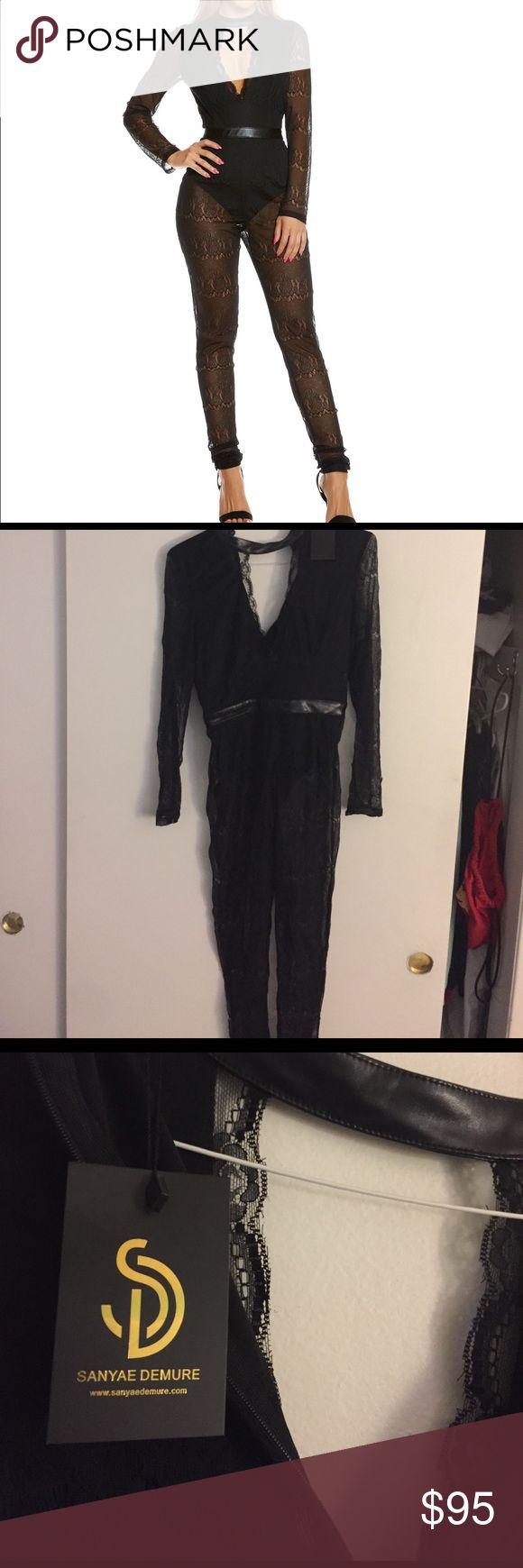 """""""Love Yourself"""" Black Jumpsuit Black lace jumpsuit with black bodysuit under connected. Plunging neckline Sanyae Demure Pants Jumpsuits & Rompers"""