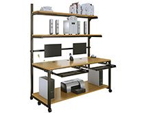 "LAN Computer Rack. Incredibly versatile, the LAN computer rack is one of our most popular products and is the most customizable. Available in eight attractive color combinations and ten distinct sizes. Each LAN rack comes with two 18"" deep, height-adjustable shelves and a larger bottom platform. $639"