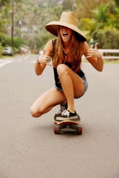 Skateboarding is the way to get around at the beach