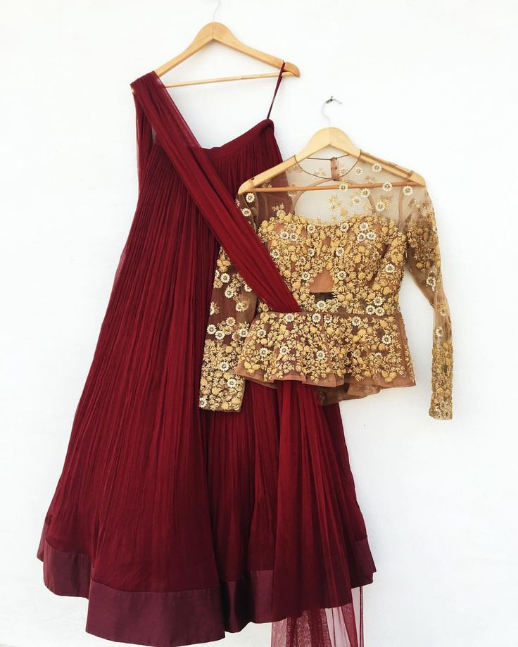 """""""This maroon & gold peplum lehenga from our latest collection is sure to make you a head turner ✨…"""""""