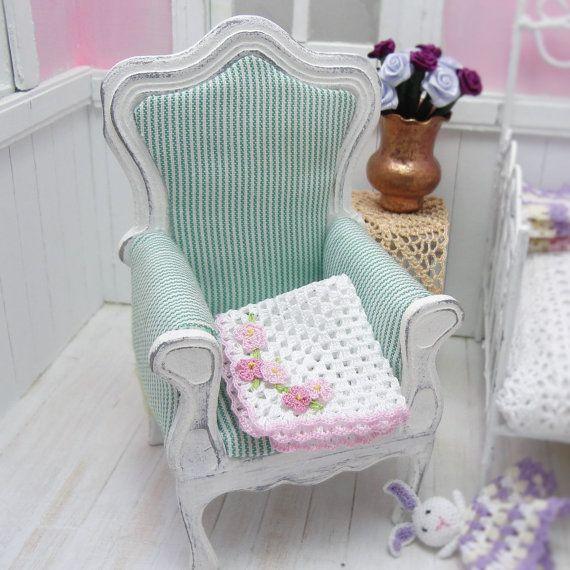 1:12 Dollhouse miniature baby crochet blanket with pink by MiniGio