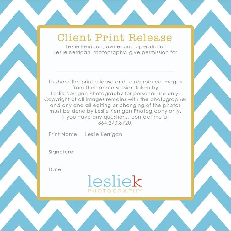 Great sample of photography print release wording for Free photography print release form template