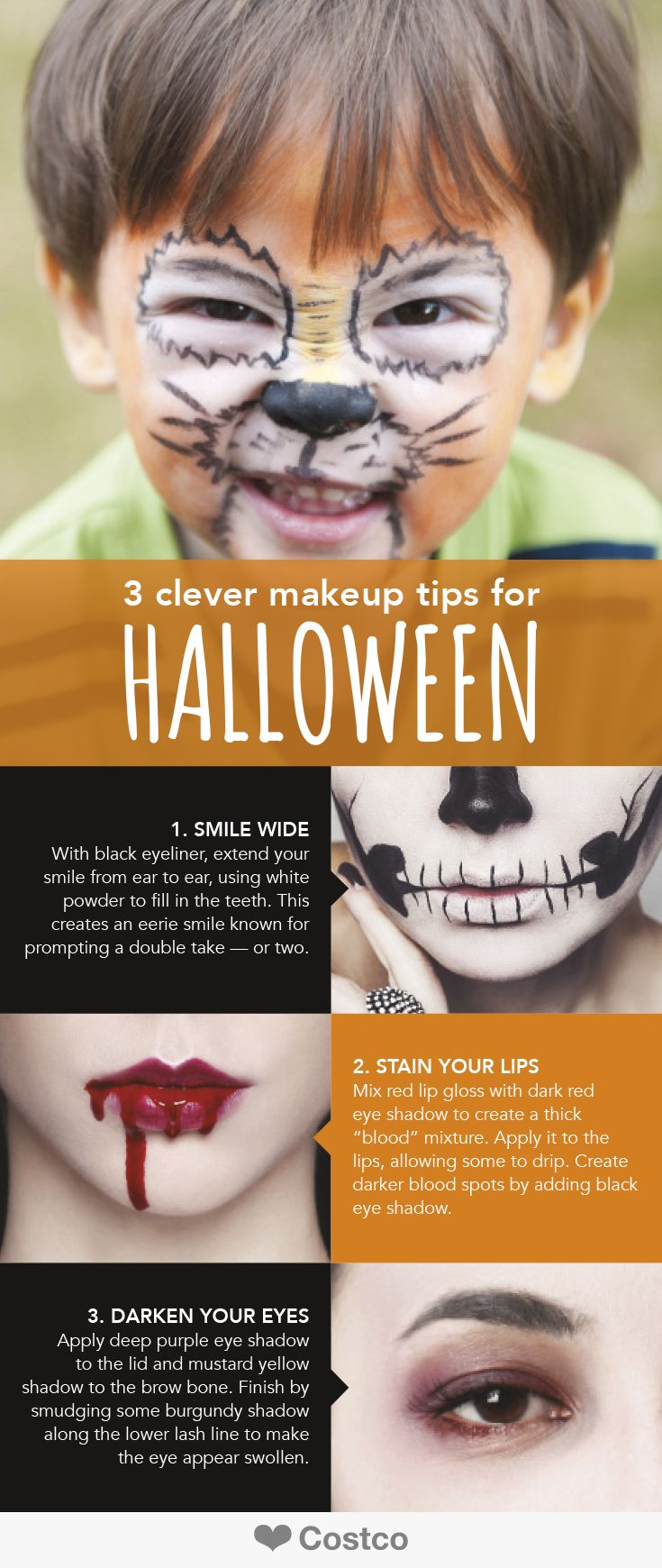 This Halloween, steal the show and spook your friends using these three clever DIY makeup tips and tricks.