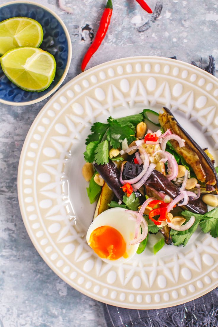 Try this crunchy Thai eggplant salad as a starter or side dish for your next curry night. With the perfect blend of salty, sour, sweet and spicy, you'll love this zippy, healthy dish!