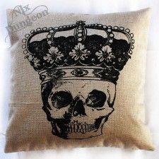 Black Crowned Skull on White Cushion