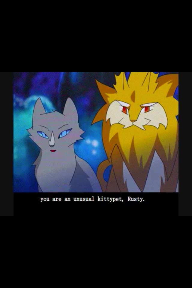 Bluestar and Lionheart talking to Fireheart, who was Rusty then. Lionheart looks funny in this pic!