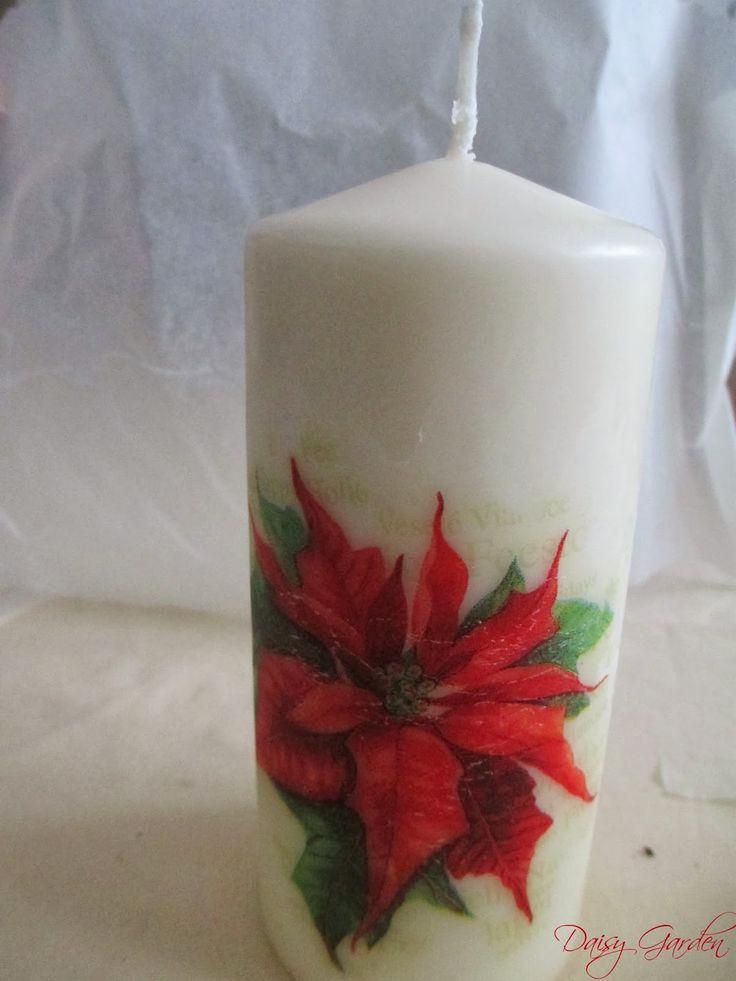 Daisy Garden: Le Decorazioni di Natale - Candele stampate e decorate fai da te