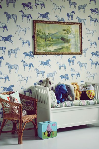 Loving This Kids Room by a German Blogger  Check out that fun horse  wallpaper. 260 best Wallpaper images on Pinterest   Wall treatments  Fabric