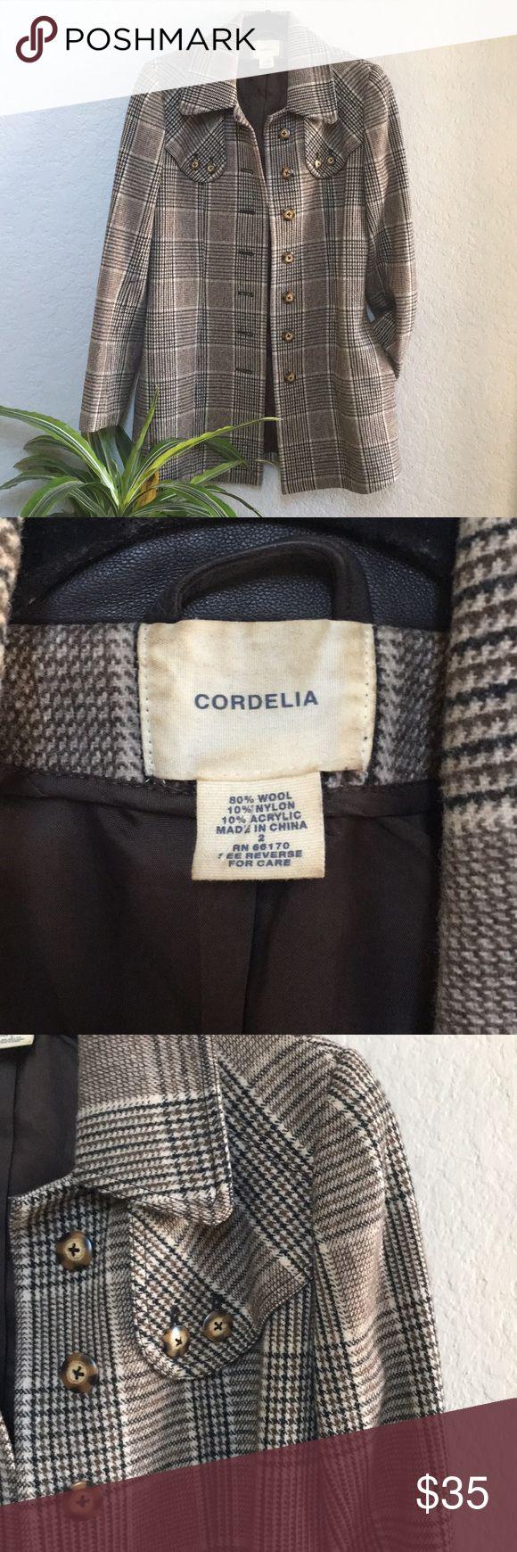 SYDNEY PEACOAT Herringbone coat 2 side pocket Cozy as heck Fits adorable Tortoise color buttons cordelia Jackets & Coats Pea Coats