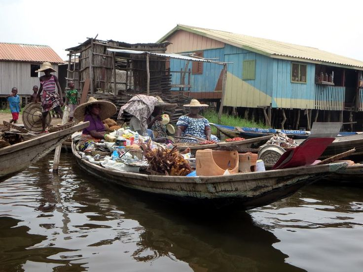 The floating market at Ganvie village on Lake Nokoue near Cotonou, Benin.