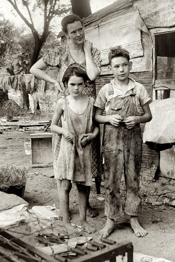 +~+~ Vintage Photograph ~+~+  People living in miserable poverty. Elm Grove, Oklahoma County, Oklahoma. August 1936 by Dorothea Lange for the Farm Security Administration.