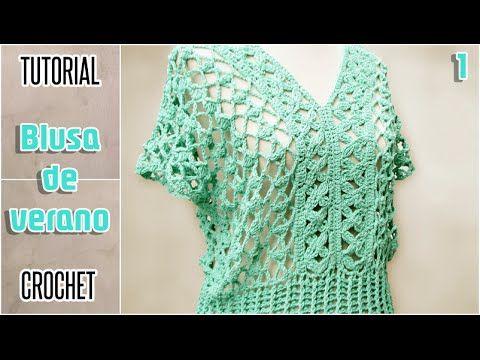 eeece26de Tutorial #86: Cómo tejer una blusa a Crochet - Paso a Paso | CTejidas [ Crochet y Dos Agujas] | remeras , blusas y chalecos | Como tejer una blusa,  ...