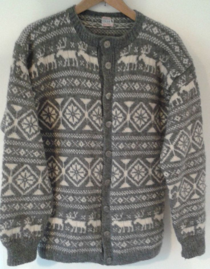 MENS VINTAGE NORDIC NORWAY O ALLERS HANDKNITTED 100% HEAVY WOOL CARDIGAN LARGE  #OALLERS #ButtonFrontCardigan