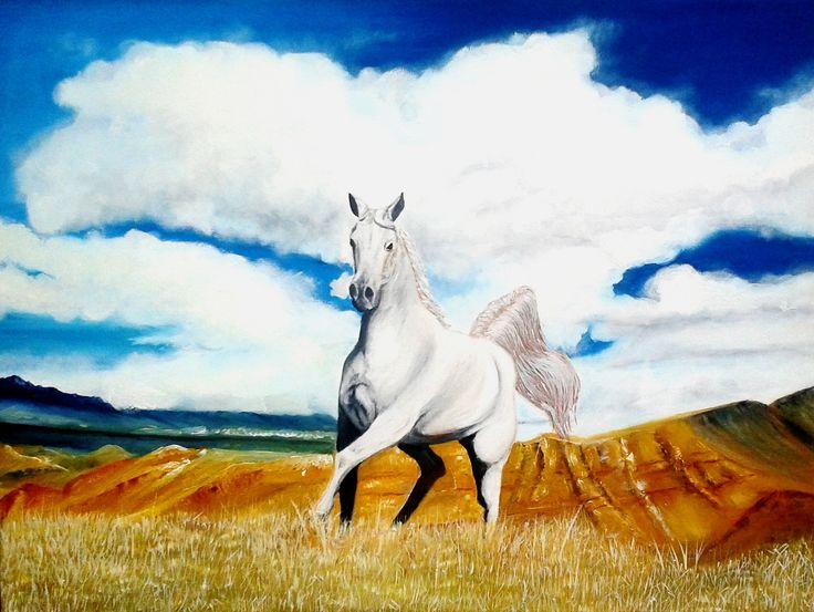 Rebeca Castro - Potro blanco óleo sobre tela 70x53 (pintura original, inspirada en fotografía)