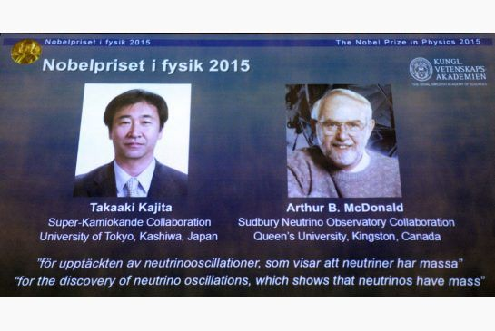 Canada's Arthur McDonald co-winner of Nobel physics prize:  McDonald and Takaaki Kajita of Japan won for their work on neutrinos, the particles that whizz through the universe at nearly the speed of light. (Toronto Star 06 October 2015)