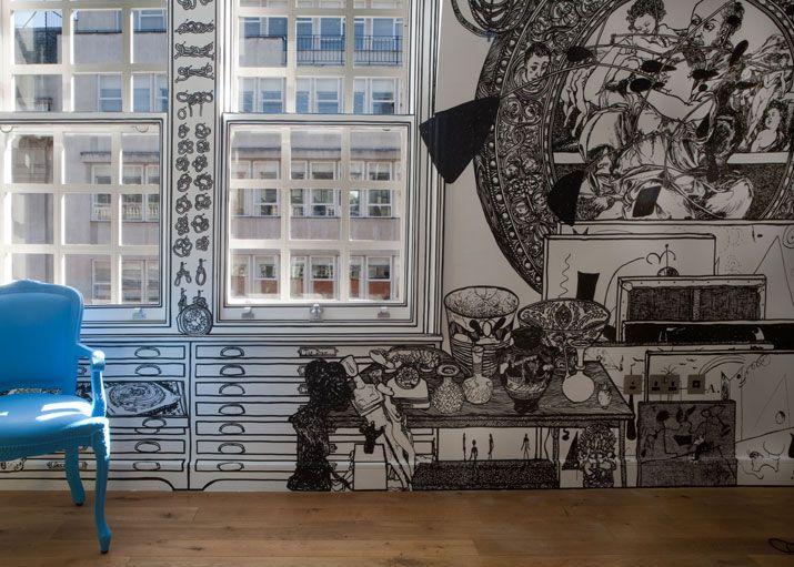 Charlotte Mann.: Wall Art, Wallart, Fashion Design, Wall Murals, Markers Art, Charlotte Man, Hands Drawn, White Wall, Wall Drawings