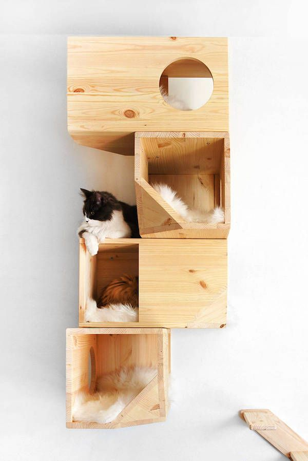 For Cat Owners: Chic, Geometric Wooden 'Cat Tree' Perfect For Modern Homes - DesignTAXI.com