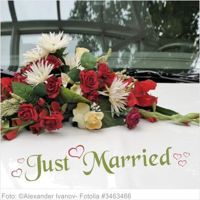 Autoaufkleber Hochzeit Just Married mit Herzen L 2-farbig