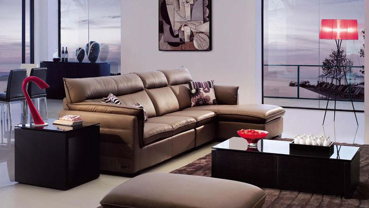 Brown Venti Sectional Sofa With Ottoman | Zuri Furniture