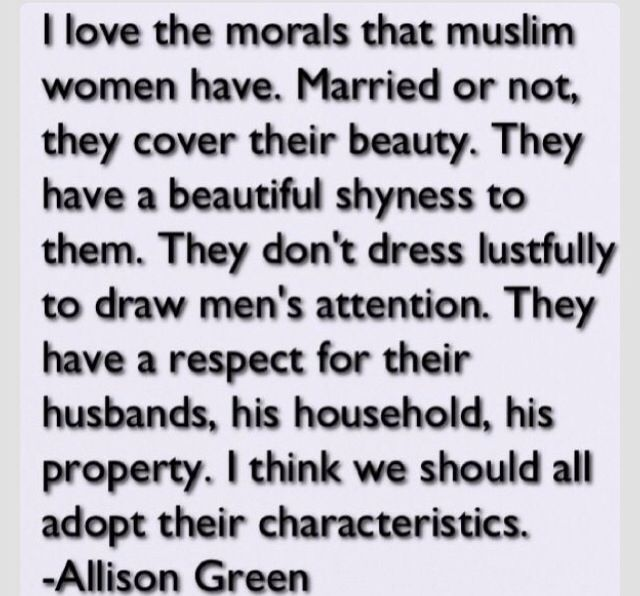 Muslim women! This woman has respect for true modesty more than some of the Muslim women today! May Allah Swt guide her Ameen.