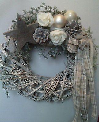 Weihnachtlicher Türkranz in creme/weiß, künstlich, Adventsgesteck, Türdeko *NEU*